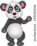 baby panda waving hand | Shutterstock .eps vector #145030546