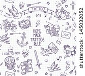 Old school tattoo seamless pattern. Cartoon tattoo elements in funny style:anchor, dagger, skull, flower, star, heart, diamond, scull and swallow.  Doodle in exercise book style