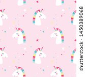 sweet unicorn pattern seamless... | Shutterstock .eps vector #1450389068