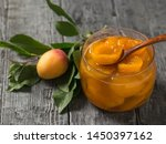 a jar of apricot jam and a... | Shutterstock . vector #1450397162