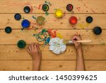 the girl is preparing to paint... | Shutterstock . vector #1450399625