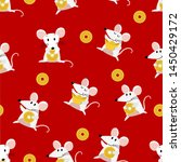 cute mouse and gold money... | Shutterstock .eps vector #1450429172