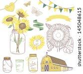 glass jars  sunflowers  ribbons ... | Shutterstock .eps vector #145048615