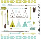 teepee tents and arrows... | Shutterstock .eps vector #145048618
