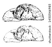 Stock vector vector illustration of sleeping kittens in graphic style 1450546985