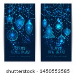 christmas toys on dark blue... | Shutterstock . vector #1450553585