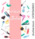 hairdresser banner with a set... | Shutterstock .eps vector #1450560842