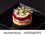 Stock photo russian salad herring under fur coat on a dark background 1450566992