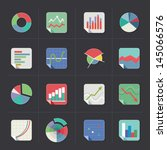 flat colorful graph icons on... | Shutterstock .eps vector #145066576