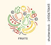 round form set of fruits icons... | Shutterstock .eps vector #1450670645