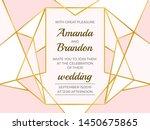 golden polygonal frame. elegant ... | Shutterstock .eps vector #1450675865