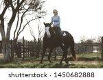 horseback riding mare horse... | Shutterstock . vector #1450682888