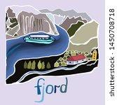 fjord scandinavia. vacation.... | Shutterstock .eps vector #1450708718