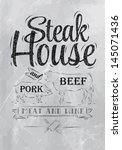 poster steak house chalk coal