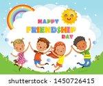 friendship day. kids are... | Shutterstock .eps vector #1450726415