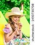 cute girl relaxes with juice ... | Shutterstock . vector #1450730708