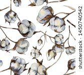 white cotton floral botanical...   Shutterstock . vector #1450740542
