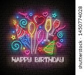 glow greeting card with ... | Shutterstock .eps vector #1450774028
