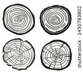tree rings on white. wood cross ... | Shutterstock .eps vector #1450783802
