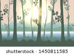 forest sunrise. water behind...   Shutterstock .eps vector #1450811585