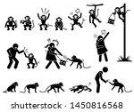 Human And Monkey Stick Figure...