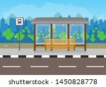 flat design bus stop with bench ... | Shutterstock .eps vector #1450828778
