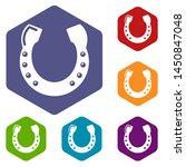 horseshoe icons colorful...