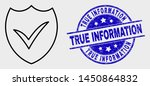 Stock vector vector stroke valid shield pictogram and true information stamp blue rounded grunge seal stamp 1450864832