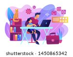 freelancer with child working... | Shutterstock .eps vector #1450865342
