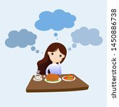 woman unhappy to eat food.... | Shutterstock .eps vector #1450886738