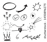 hand drawn set elements  black... | Shutterstock .eps vector #1450896275