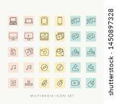 web multimedia icons set vector