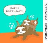 happy sloth family cartoon ... | Shutterstock .eps vector #1450937372