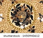 leopard's head surrounded by... | Shutterstock .eps vector #1450940612
