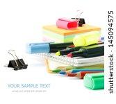 school supplies on white... | Shutterstock . vector #145094575