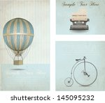 retro banners set with vintage... | Shutterstock .eps vector #145095232
