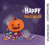 halloween invitation card. cute ... | Shutterstock .eps vector #1450994198