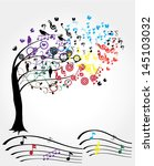 vector musical tree with notes... | Shutterstock .eps vector #145103032
