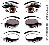 vector brown eyes with make up
