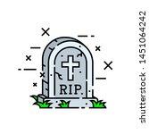 gravestone cemetery line icon.... | Shutterstock .eps vector #1451064242