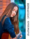 pretty  young teenager girl... | Shutterstock . vector #1451094608