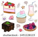 set of desserts  food ... | Shutterstock .eps vector #1451128115