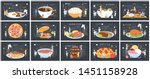 big set of food. small people... | Shutterstock .eps vector #1451158928