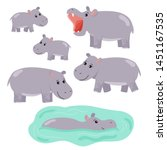 Set Of Cartoon Vector Hippo....
