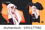 beautiful girl on the... | Shutterstock .eps vector #1451177582