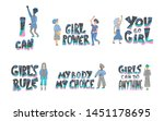 girl power set of quotes with...   Shutterstock . vector #1451178695
