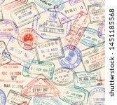 passport stamp seamless pattern.... | Shutterstock .eps vector #1451185568