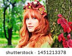 pretty red haired girl in a... | Shutterstock . vector #1451213378