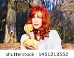 pretty red haired girl in a... | Shutterstock . vector #1451213552