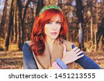 pretty red haired girl in a... | Shutterstock . vector #1451213555